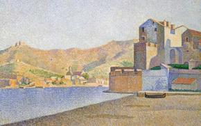 Picture sea, landscape, mountains, shore, home, picture, Paul Signac, pointillism, The City Beach. Collioure