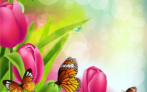 Picture butterfly, Tulips, Rendering