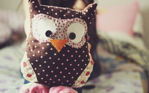 Picture owl, toy, needlework