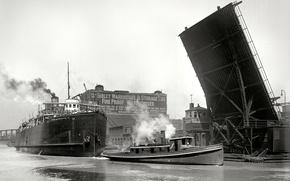 Picture retro, ship, tug, steamer, USA, drawbridge