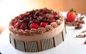 Picture chocolate, strawberry, cake, cream