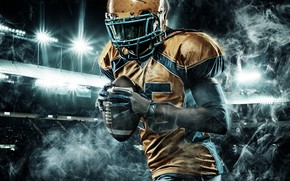 Wallpaper gloves, floodlight, night, male, smoke, stadium, lights, uniform, t-shirt, American football, athlete, helmet, tribune, the ...