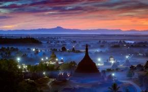 Picture lights, fog, the evening, morning, haze, Burma, temples