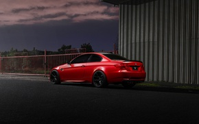 Picture red, coupe, BMW, the fence, BMW, red, rear view, e92