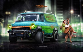Picture Ford, Auto, Dog, Figure, Machine, Background, Car, Car, Art, Art, The film, Rendering, Van, Yasid ...