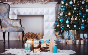 Picture holiday, gift, tree, candle, gifts, New year, fireplace, Christmas decorations