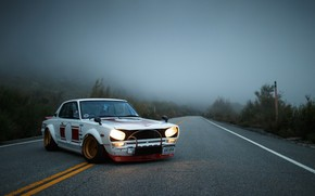 Picture Auto, Fog, Machine, Nissan, Nissan, Lights, Car, 2000, Skyline, Nissan Skyline, The front, 2000GT, Japanese, …