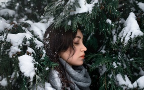 Picture girl, snow, branches, face, green, sweetheart, model, portrait, spruce, scarf, brunette, light, white, beautiful, young, …