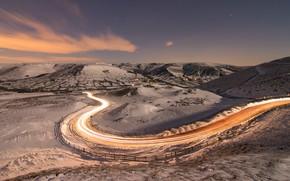 Wallpaper winter, road, lights