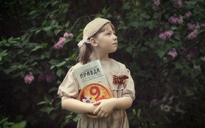 Picture box, girl, newspaper, lilac, Victory Day, True, May 9, George ribbon