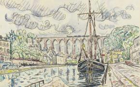 Wallpaper port, the city, Morlaix, watercolor, Paul Signac, figure, ship
