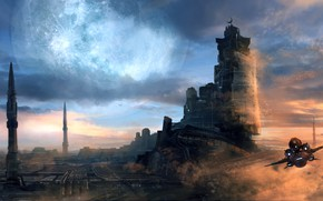 Picture the sky, clouds, fiction, ship, art, sci-fi
