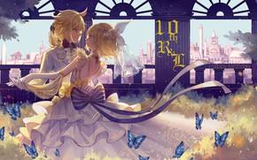 Picture dance, two, Vocaloid, Vocaloid, Rin, Len