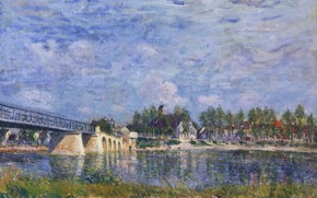 Picture landscape, river, picture, Alfred Sisley, Alfred Sisley, The bridge in Saint-Mames