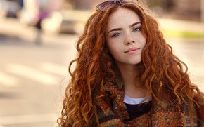 Picture glasses, freckles, the beauty, redhead, curls, Erika Postnikov