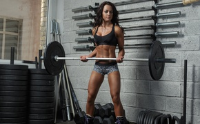 Picture woman, workout, fitness, Gym, weight training