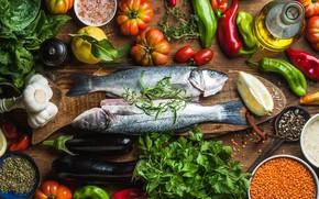 Picture lemon, fish, vegetables, spices, sea bass