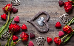 Picture love, flowers, gift, chocolate, candy, hearts, tulips, sweets, red, love, wood, flowers, romantic, hearts, tulips, …