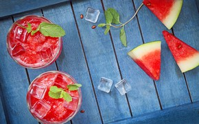 Picture ice, watermelon, berry, juice, slices