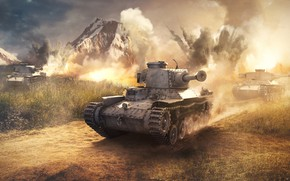 Picture road, mountains, explosions, tanks, War Thunder, Japanese Tank
