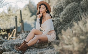 Picture summer, face, style, hat, Asian