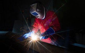 Picture sparks, welding, worker