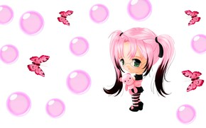 Picture bubbles, butterfly, anime, art, girl