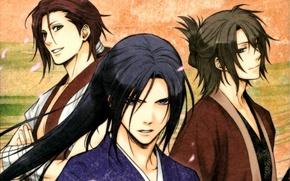 Picture look, petals, three, art, samurai, demons pale cherry, hakuouki shinsengumi kitano, yone kazuki, pilgrimage chop …