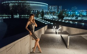 Picture girl, pose, figure, dress, ladder, night city, A Diakov George, Christina Kardava