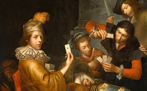 Picture oil, picture, canvas, Playing Cards on the Cradle. Allegory, Johannes van Wijckersloot