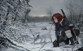 Picture The sky, Nature, Winter, Girl, Dog, Trees, Snow, Forest, Traces, Branches, Girl, Weapons, Nature, Sky, ...