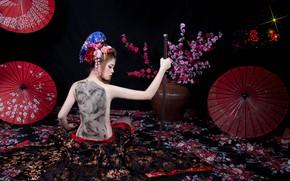 Picture face, style, back, sword, katana, tattoo, Asian