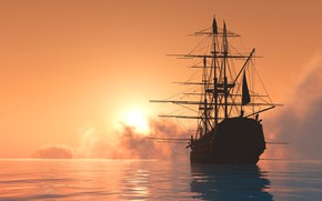 Wallpaper the sun, ship, 3D Graphics, sailboat, sea, silhouette, dawn, the sky, horizon, mast