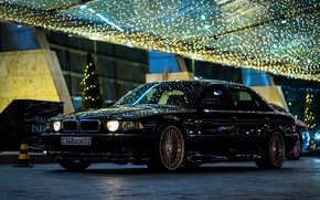 Picture BMW, City, Light, Night, Alpina, E38, Kazakhstan, Almaty, 740Li