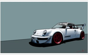 Wallpaper Porsche, White, 964, Hoonigan, Auto, Art, Figure, Machine, Porsche 964