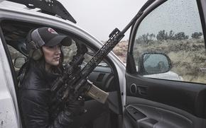 Wallpaper auto, girl, weapons, rain, car
