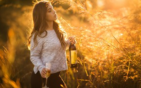 Picture girl, mood, wine, bottle, glass