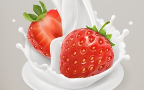Picture background, milk, strawberry, berry