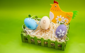 Picture holiday, eggs, Easter, socket, hay, Chicken