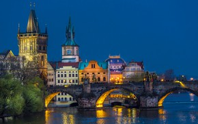 Picture bridge, lights, river, home, the evening, Prague, Czech Republic, Charles bridge, Charles Bridge