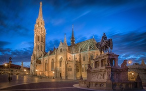 Picture the sky, clouds, lights, the evening, area, lights, monument, temple, architecture, Palace, Hungary, Budapest