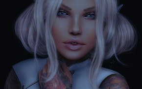 Picture eyes, girl, face, background, hair, tattoo, lips