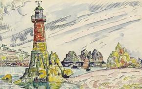 Picture figure, watercolor, Paul Signac, Lézardrieux. Lighthouse