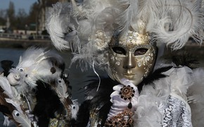 Picture feathers, mask, Venice, carnival