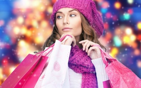 Wallpaper model, packages, scarf, girl, makeup, hair, hat, winter, manicure, purchase, shopping