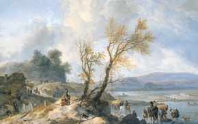 Picture oil, picture, canvas, Philips Bowerman, Landscape with Dirt Road Along the River