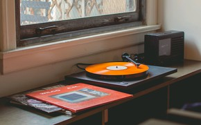 Wallpaper music, window, gramophone, table, vinyl records