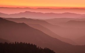 Picture mountains, CA, glow, USA, Mariposa