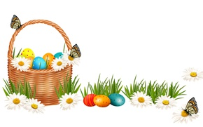 Picture Chamomile, Butterfly, Easter, Eggs, Basket, Holidays