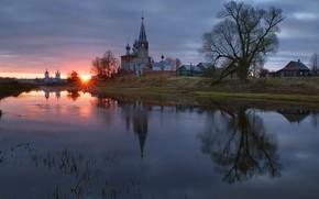Wallpaper village, river, dawn, temple